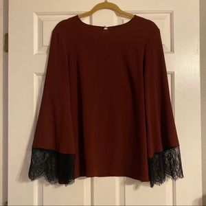 Maroon Wine Burgundy Lace Bell Sleeve Blouse